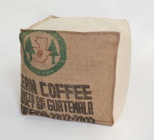 POUF-ECRU CLEAN-COFFEE